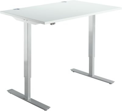 Schreibtisch START UP, einstufig elektr. höhenverstellbar, B 1200 mm, lichtgrau/weißalu
