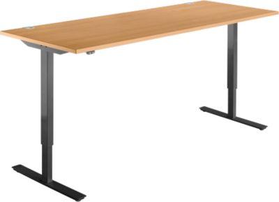 Schreibtisch START UP, einstufig elektr. höhenverstellbar, B 1800 mm, Buche/schwarz