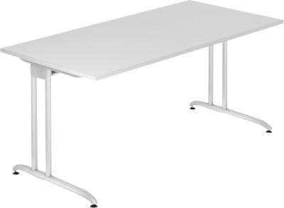Schreibtisch TARA, C-Fuß, Rechteck, B 1600 x T 800 x H 720 mm, lichtgrau