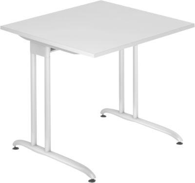 Schreibtisch TARA, C-Fuß, Rechteck, B 800 x T 800 x H 720 mm, lichtgrau