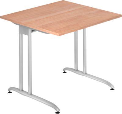 Schreibtisch TARA, C-Fuß, Rechteck, B 800 x T 800 x H 720 mm, Nussbaum-Dekor