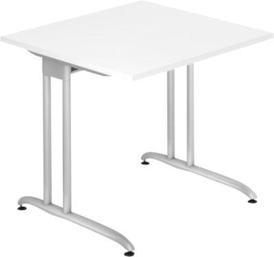 Schreibtisch TARA, C-Fuß, Rechteck, B 800 x T 800 x H 720 mm, weiß