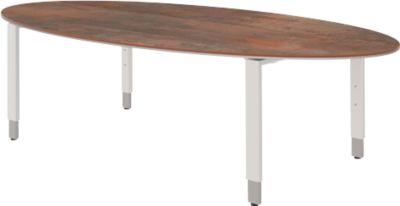 Schreibtisch TEQSTYLE, 4-Fuß, oval, B 2200 x T 1100  x H 720 mm, Oxido/weiß