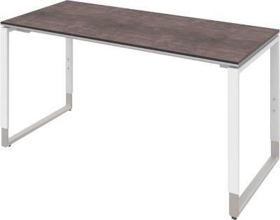 Schreibtisch TEQSTYLE, Kufengestell, Rechteck, B 1600 x T 800 x H 680 - 820 mm, Quarzit/weiß