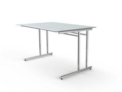 Schreibtisch Toledo, höhenverstellbar, C-Fuß, Glasplatte, B 1200 x T 800 mm