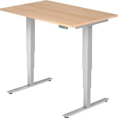 Schreibtisch ULM, elektrisch, höhenverstellbar, B 1200 mm, Eiche-Dekor