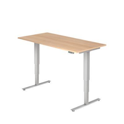 Schreibtisch ULM, elektrisch, höhenverstellbar, B 1600 mm, Eiche-Dekor