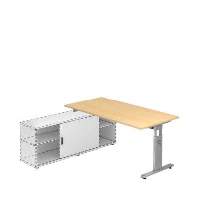 Schreibtisch ULM mit Sideboard, manuell höhenverstellbar, Rechteck, T-Fuß, B 1600 mm, Ahorn-Dekor