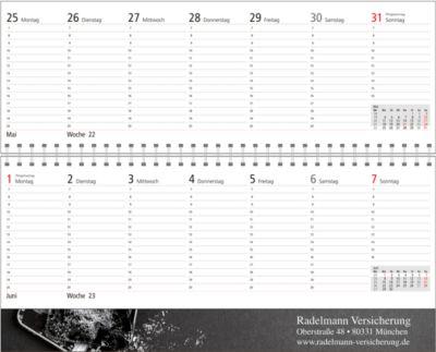 Schreibtischquerkalender, mit Werbung auf Ober- und Unterdeckel, 60 Seiten