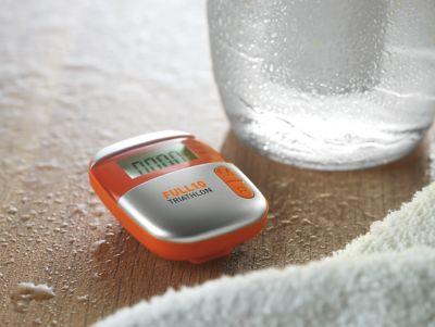 Schrittzähler Onmood, mit Entfernungsmesser, mit Kalorienzähler, mit Clip, orange