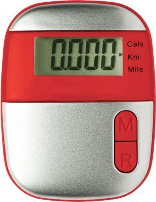 Schrittzähler Onmood, mit Entfernungsmesser, mit Kalorienzähler, mit Clip, rot