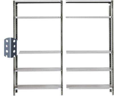 Schroefplank Fix Profiel 1, complete plank 2m, 1 basis- en 1 aanbouwdeel met 10 legborden, gelakt, H 1920 x B 2000 x D 300 mm.