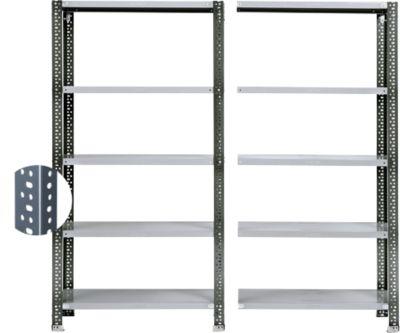 Schroefplank Fix Profiel 2, complete plank 2 m, 1 basis- en 1 aanbouwdeel incl. 10 legborden, gelakt, H 1920 x B 2000 x D 300 mm.