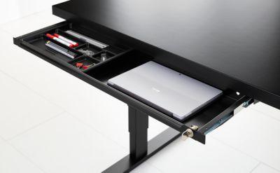 Schublade, für elektrisch höhenverstellbaren Schreibtisch Elements, B 879 mm, schwarz