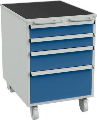 Schubladenblock, 4 Schubladen mit Rollen, B 550 x T 715 x H 795 mm