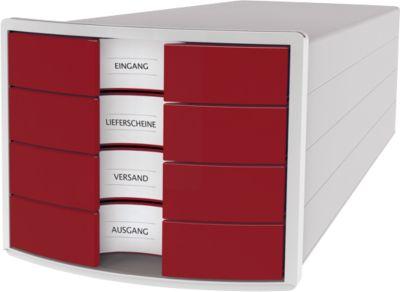 Schubladenbox HAN Impuls 2.0, 4 Schubladen, Format A4, stapelbar, geschlossen,grau/rot