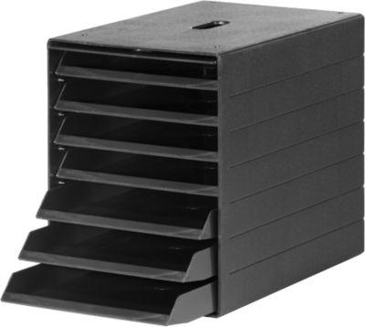 Schubladenbox Idealbox Plus, 7 Schübe, DIN C4, Kunststoff, schwarz