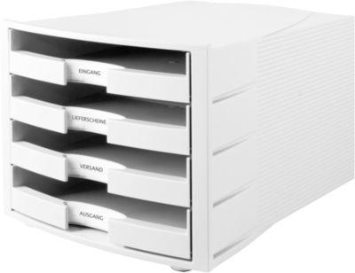 Schubladenbox Impuls, DIN A4 Format, stapelbar, 4 Schubladen, Gehäuse lichtgrau/Schublade lichtgrau
