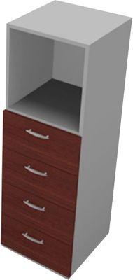 Schubladenelement PHENOR, 3 OH, 4 Schübe, 1 Regalfach, B 430 x T 430 x H 1310 mm, Wenge-Dekor