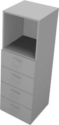 Schubladenelement PHENOR, 3 OH, 4 Schübe, 1 Regalfach, H 1310 x B 430 x T 430 mm, grau