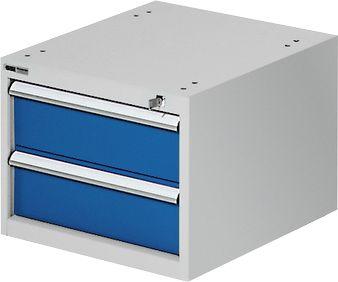Schubladenkasten zur TOP-Werkbank, Block 2, lichtgrau/blau