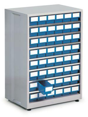 Schubladenregal, mit 48 Schubladen, blau