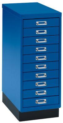 Schubladenschrank DIN A4, mit 10 Schubladen, 675 mm hoch, enzianblau
