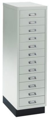 Schubladenschrank DIN A4, mit 12 Schubladen, 940 mm hoch, lichtgrau