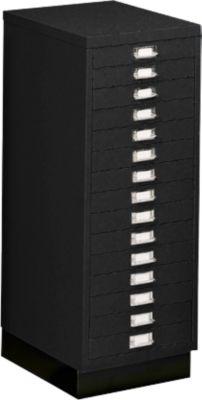 Schubladenschrank DIN A4, mit 15 Schubladen, 940 mm hoch, schwarz