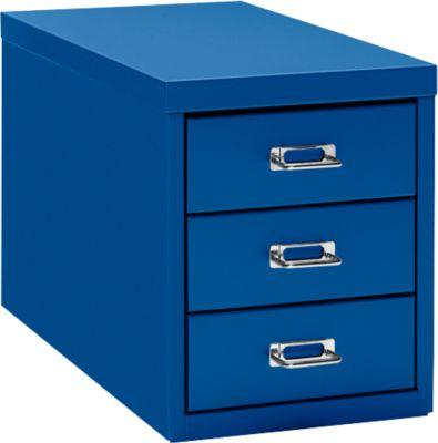 Schubladenschrank DIN A4, mit 3 Schubladen, 330 mm hoch, enzianblau