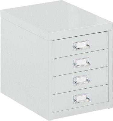 Schubladenschrank DIN A4, mit 4 Schubladen, 330 mm hoch, lichtgrau