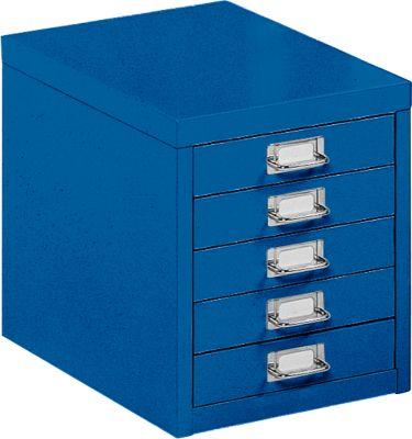 Schubladenschrank DIN A4, mit 5 Schubladen, 330 mm hoch, enzianblau