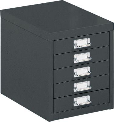 Schubladenschrank DIN A4, mit 5 Schubladen, 330 mm hoch, schwarz