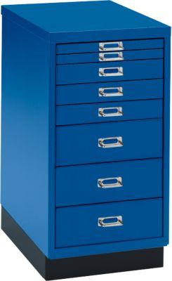 Schubladenschrank DIN A4, mit 8 Schubladen, 675 mm hoch, enzianblau