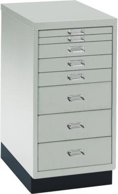 Schubladenschrank DIN A4, mit 8 Schubladen, 675 mm hoch, lichtgrau