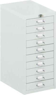 Schubladenschrank mit Zentralverschluss, 10 Schubladen, 675 mm hoch, lichtgrau
