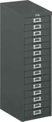 Schubladenschrank mit Zentralverschluss, 15 Schubladen, 940 mm hoch, schwarz
