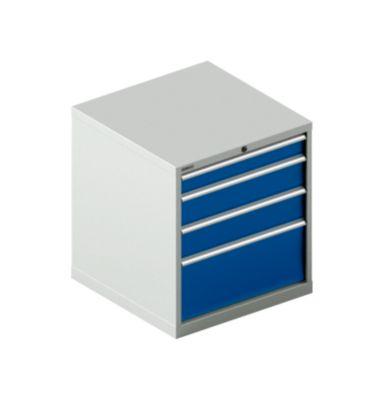Schubladenschrank SCHÄFER 36-36, 4 Schübe, bis 75 kg, B 717 x T 725 x H 800 mm, lichtgrau/enzianblau