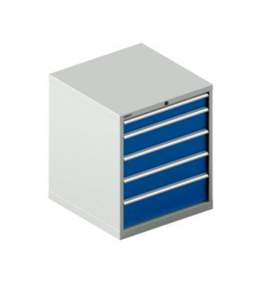 Schubladenschrank SCHÄFER 36-36, 5 Schübe, bis 75 kg, B 717 x T 725 x H 850 mm, lichtgrau/enzianblau