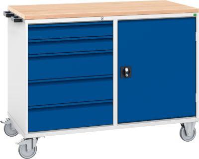 Schubladenschrank Serie Verso, fahrbar, 5 Schubladen, mit Tür, mit Holzauflage