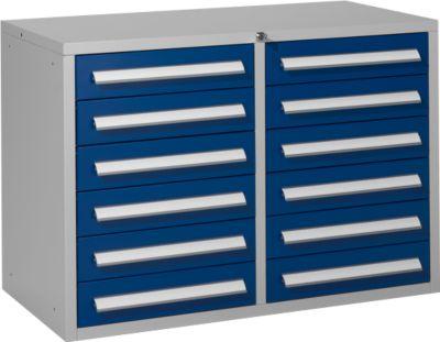 Schubladenschrank SF 120, 12 Schübe, hellsilber/blau