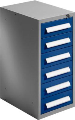 Schubladenschrank SF 60, 6 Schübe, hellsilber/blau