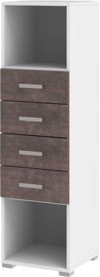 Schubladenschrank TEQSTYLE, 4 Auszüge, B 400 x T 419 x H 1465 mm, Weiß/Quarzit