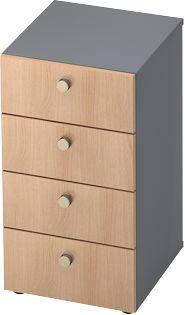 Schubladenschrank TOPAS LINE, 2 OH, B 400 mm, graphit/Eiche-Dekor