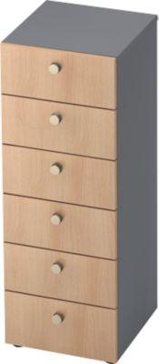Schubladenschrank TOPAS LINE, 3 OH, B 400 mm, graphit/Eiche-Dekor