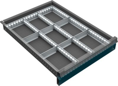 Schubladenunterteilung, 9 Fächer, 60-120 mm
