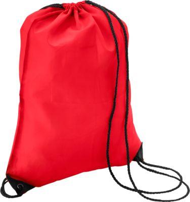 Schuhrucksack Basic, 340 x 420 mm, 210D-Polyester, mit Zugkordel und Metallösen, rot