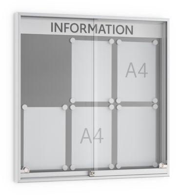 Schuifdeur-vitrinekast, 60 mm diep, 3 x 2, alu-zilverkleur