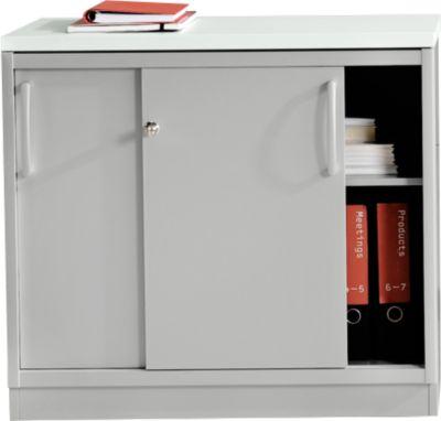 Schuifdeurenkast, 1x OH, met aflegvak, lichtgrijs/wit-alu
