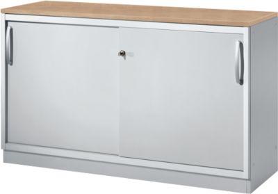 Schuifdeurenkast, 2x OH, met tussenwand, kersen-Romanadecor/wit-alu.
